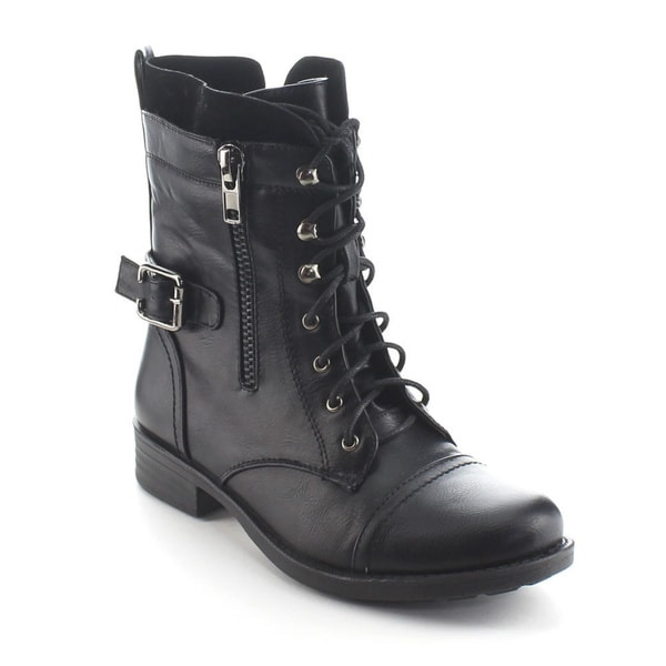 DAVICCINO AA39 Women's Lace Up Military Side Zip Flat Heel Ankle Combat Booties
