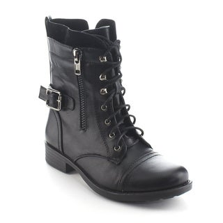 DAVICCINO AA39 Women's Lace Up Military Side Zip Flat Heel Ankle Combat Booties