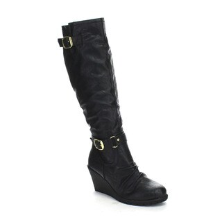 FAHRENHEIT ELSA-02 Women's Riding Knee High Wedge Heel Boots