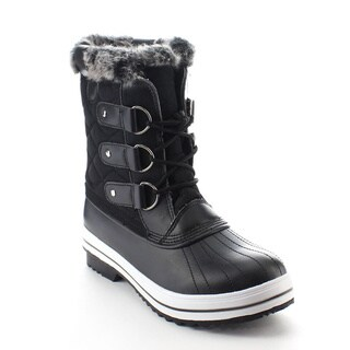 DAVICCINO AA47 Women's Quilted Lace Up Studs Waterproof Winter Snow Booties