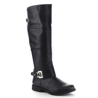 Bamboo MONTANA-49 Women's Buckle Strap Side Zipper Knee High Riding Boots