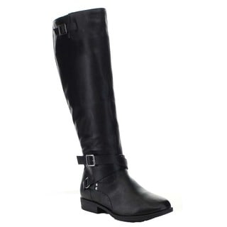 Bamboo MONTANA-66 Women's Buckle Strap Side Zipper Knee High Riding Boots