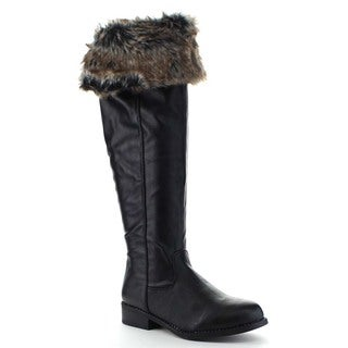 Bamboo PILOT-15 Women's Back Zipper Fold Collar Over the Knee Winter Boots