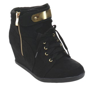 FOREVER PEGGY-53 Women's Chic Lace Up Zipper Wedge Sneakers
