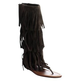FOREVER ANIKA-66 Women's Sassy Fringe Falt Thong Sandals
