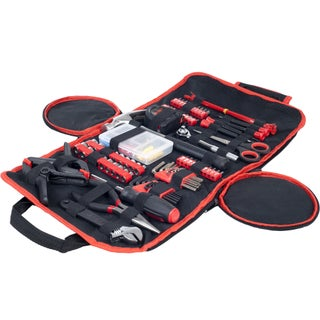 Household Hand Tools, 86 Piece Tool Set With Roll-Up Bag by Stalwart (Option: Red/Black)