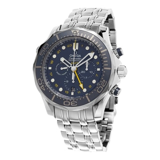 Omega Men's 212.30.44.52.03.001 'Seamaster Diver 300' Blue Dial Chronograph GMT Stainless Steel Swis