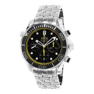 Omega Men's 212.30.44.50.01.002 'Seamaster Diver 300' Black/Yellow Dial Chronograph Stainless Steel