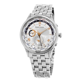 Maurice Lacroix Men's MP6008-SS002110 'MasterPiece World timer' Silver Dial Stainless Steel Swiss Au