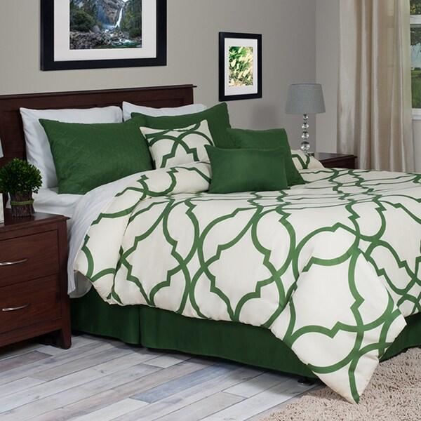 Windsor Home Green and White Trellis 7 Piece Queen Oversized Comforter Set