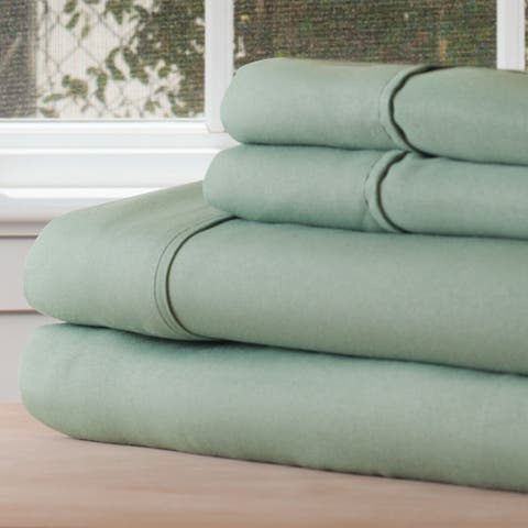 Winsor Home Cotton Blend 1200 Thread Count Sage Bed Sheet Set (Twin XL)
