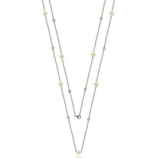 "Suzy Levian Sterling Silver White Sapphire and Pearl By the Yard 36"" Station Necklace"