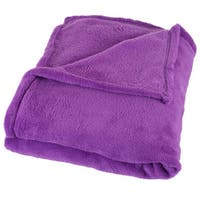 Windsor Home Soft Velvet Fleece Purple Throw Blanket