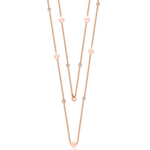 """Suzy Levian Rosed Sterling Silver White Sapphire and Pearl By-the-Yard 26"""" Station Necklace"""