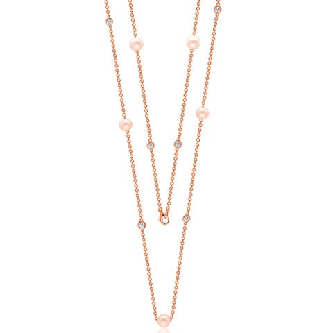"Suzy L. Rosed Sterling Silver White Sapphire and Pearl By-the-Yard 26"" Station Necklace - Pink"