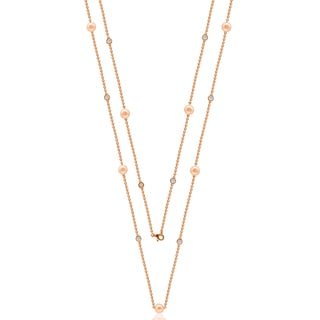 "Suzy Levian Rosed Sterling Silver White Sapphire and Pearl By-the-Yard 36"" Station Necklace"