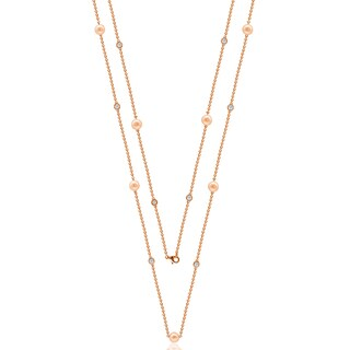 """Suzy Levian Rosed Sterling Silver White Sapphire and Pearl By-the-Yard 36"""" Station Necklace"""