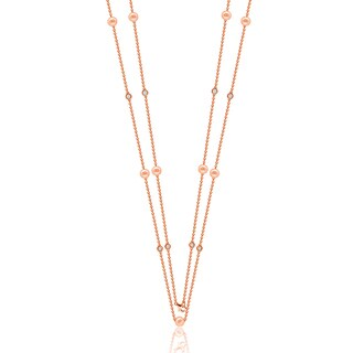 """Suzy Levian Rosed Sterling Silver White Sapphire and Pearl By-the-Yard 46"""" Station Necklace"""