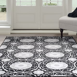 Windsor Home Royal Damask Area Rug - Black 8' x 10'