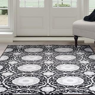 Windsor Home Royal Damask Area Rug - Black 8' x 10' (Option: 8' X 10')