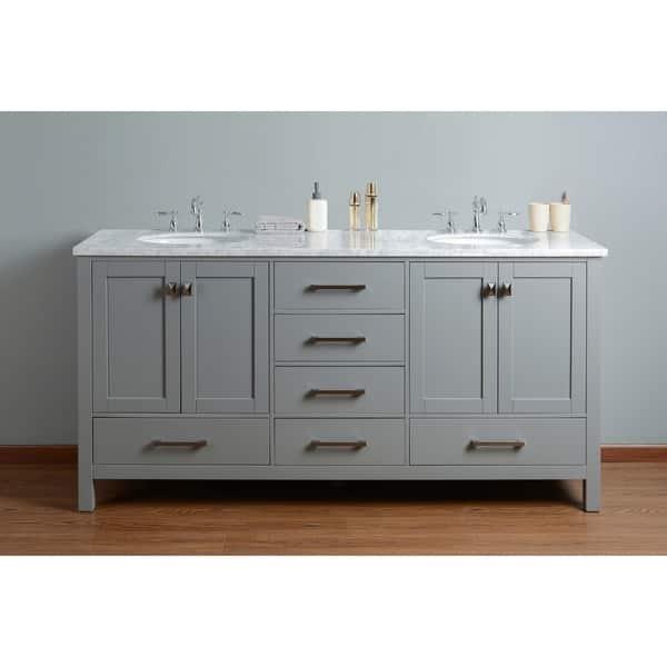 Shop Stufurhome 72 inch Malibu Grey Double Sink Bathroom ...