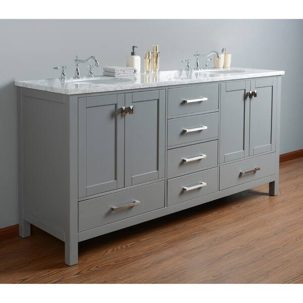 Peachy Shop Stufurhome 72 Inch Malibu Grey Double Sink Bathroom Home Interior And Landscaping Ferensignezvosmurscom