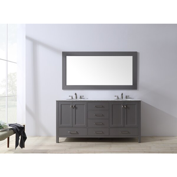 90 Inch Double Sink Bathroom Vanity: Stufurhome 72 Inch Malibu Grey Double Sink Bathroom Vanity