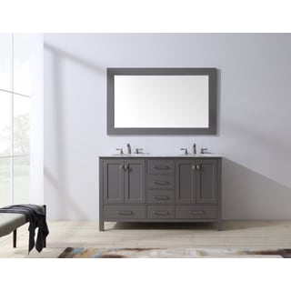 Stufurhome 60 inch Malibu Grey Double Sink Bathroom Vanity with Mirror