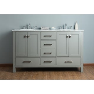 Stufurhome 60 Inch Malibu Grey Double Sink Bathroom Vanity
