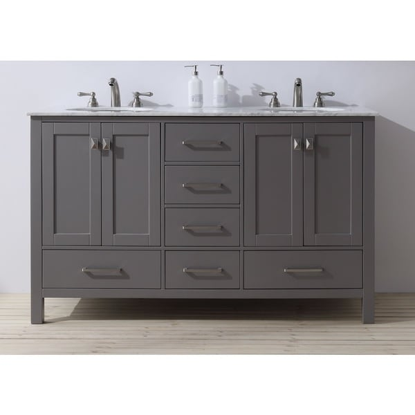 Stufurhome 60 inch Malibu Grey Double Sink Bathroom Vanity - Free ...