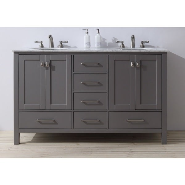 Stufurhome Bathroom Vanities stufurhome 60 inch malibu grey double sink bathroom vanity - free