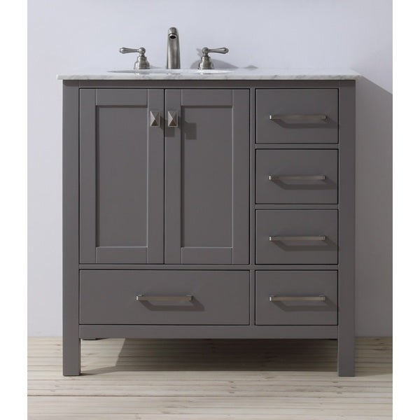 Stufurhome 36 Inch Malibu Grey Single Sink Bathroom Vanity Free Shipping Today Overstock