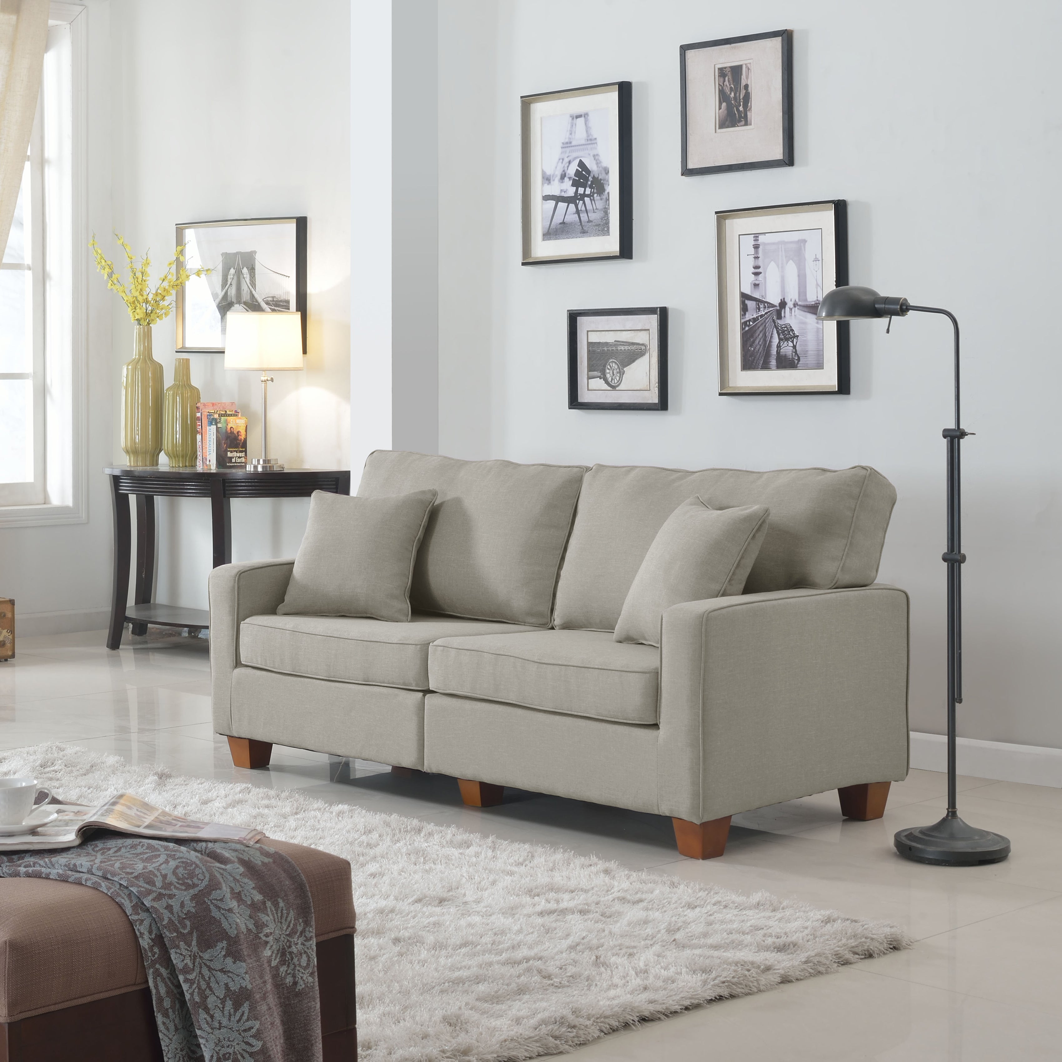 Classic 73 Inch Love Seat Living Room Linen Fabric Sofa In Colors Beige Brown Light Grey And Dark Grey