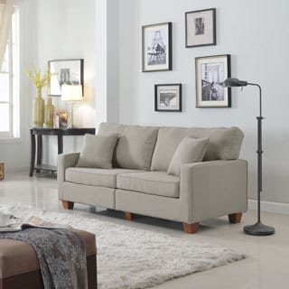Classic 73-inch Love Seat Living Room Linen Fabric Sofa in Colors Beige, Brown, Light Grey and Dark Grey