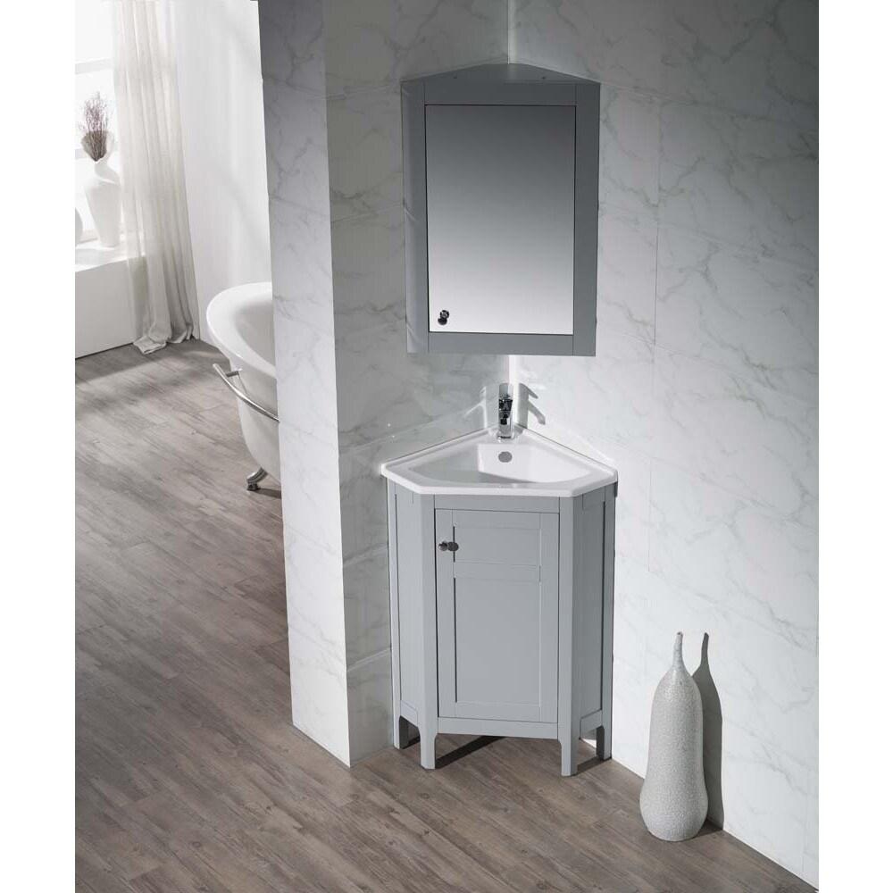 Stufurhome Clarkson Grey 24 25 Inch Corner Bathroom Vanity With Medicine Cabinet Overstock 10585164