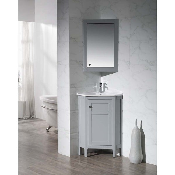 Shop Stufurhome Clarkson Grey 24 25 Inch Corner Bathroom