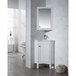 Stufurhome Monte White 25 Inch Corner Bathroom Vanity with Medicine Cabinet