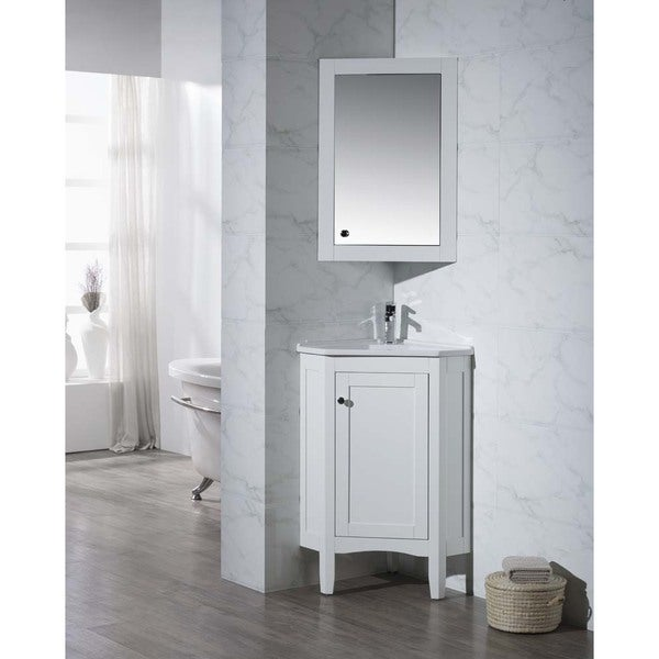 monte white 25 inch corner bathroom vanity with medicine cabinet