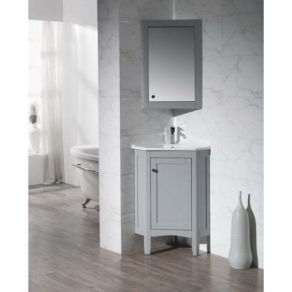 Stufurhome Monte Grey 25 Inch Corner Bathroom Vanity With Mirrored Medicine Cabinet
