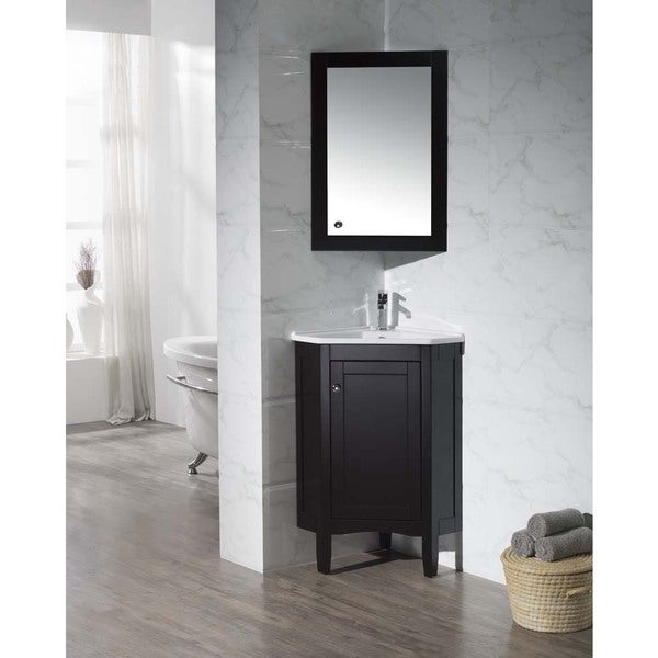 espresso 25 inch corner bathroom vanity with mirrored medicine cabinet