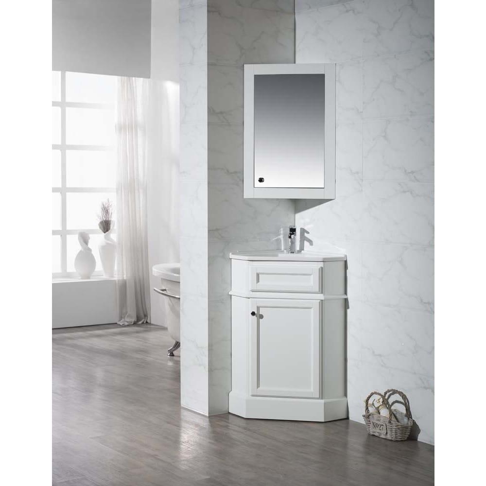 Stufurhome Hampton White 26.5 Inch Corner Bathroom Vanity...