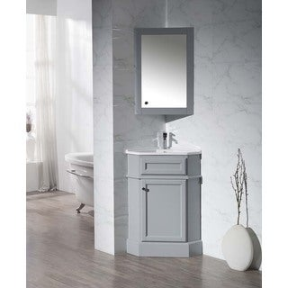 Stufurhome Hampton Grey 26.5 Inch Corner Bathroom Vanity with Medicine Cabinet