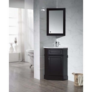Stufurhome Hampton Espresso 26.5 Inch Corner Bathroom Vanity with Medicine Cabinet