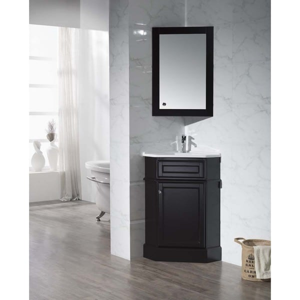 Stufurhome hampton espresso 26 5 inch corner bathroom vanity with medicine cabinet free for Espresso bathroom medicine cabinet