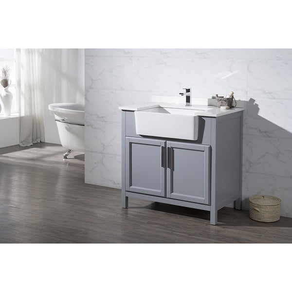 Stufurhome Tyron Grey 36 Inch Farmhouse Apron Single Sink Bathroom Vanity F