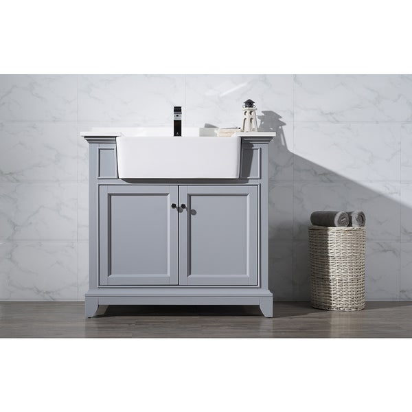 Stufurhome Helanah Grey 36 Inch Farmhouse Apron Single Sink Bathroom ...