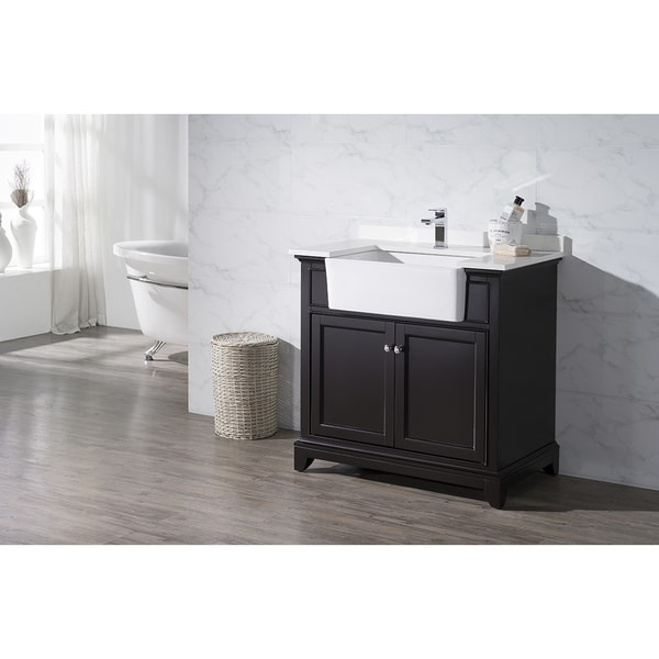 farmhouse sink bathroom vanity shop stufurhome helanah espresso 36 inch farmhouse apron 18279