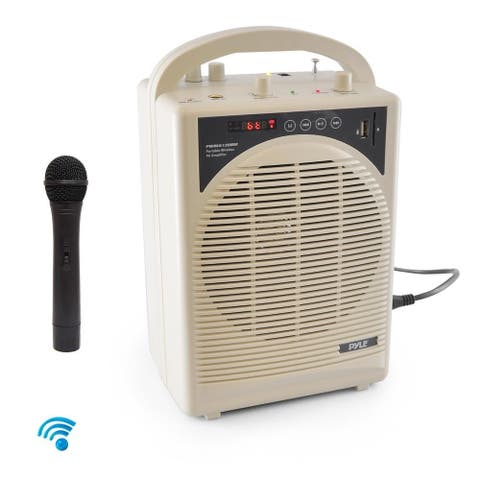 Pyle PWMA120BM Portable Bluetooth PA Speaker and Mic System with Handheld Mic and Rechargeable Battery - White
