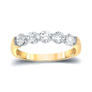 Auriya 14k Gold 3/4ct TDW Round-Cut Diamond 5 Stone Wedding Band (I-J, SI1-SI2)