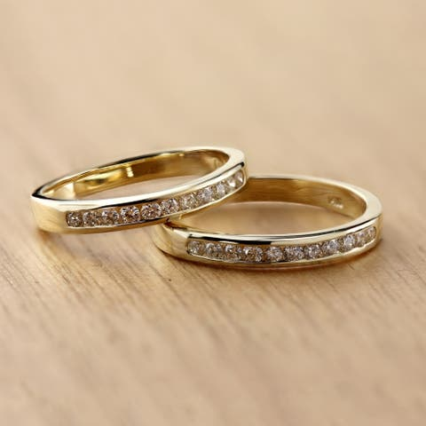 Auriya 14k Gold 1/4ctw Round Diamond Wedding Band